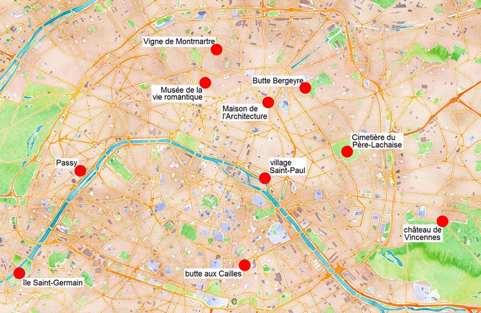 Carte des quartiers tranquilles de Paris.
