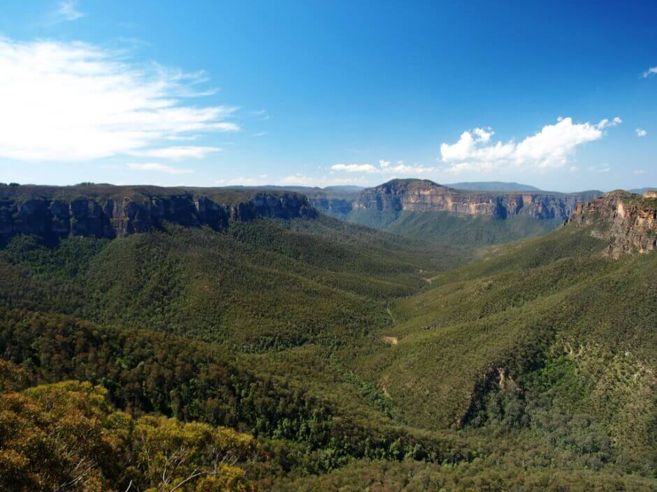 Vue du parc naturel de Blue Moutains en Australie.