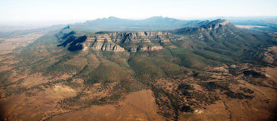 Vue du parc national de Wilpena Pound en Australie.