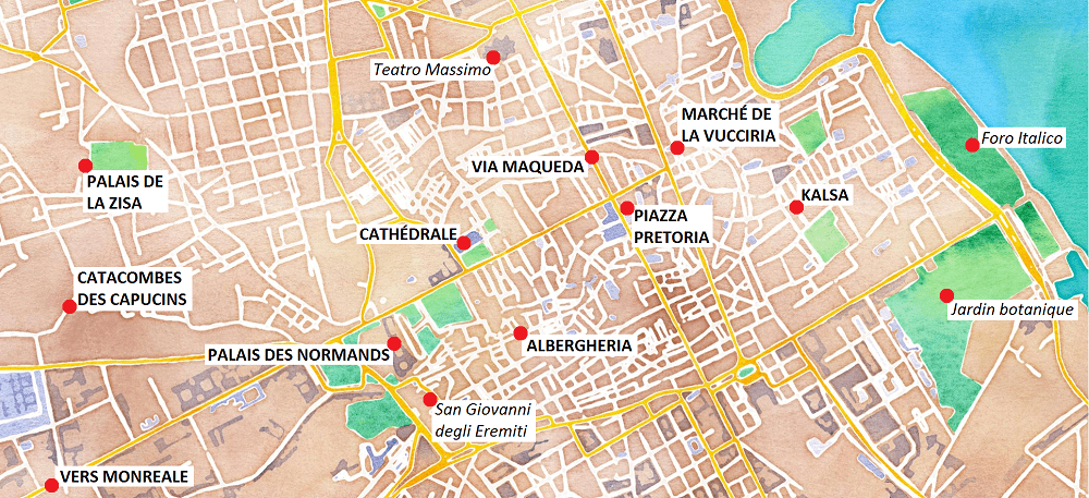 Carte des principaux lieux touristiques de Palerme.