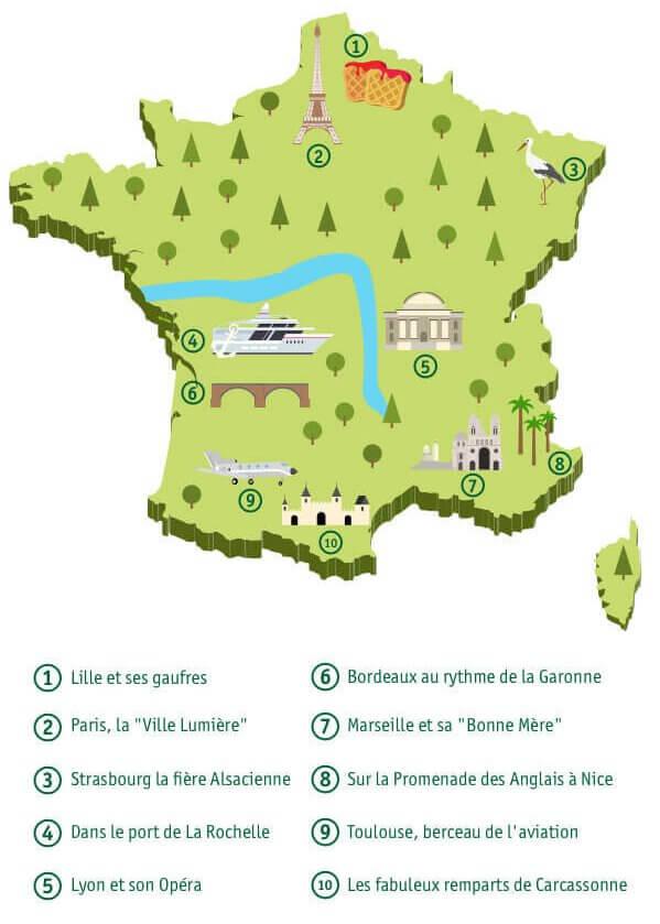 Carte des villes les plus touristiques de France.