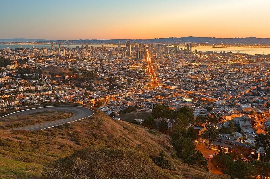 Panorama sur San Francisco depuis les Twin Peaks.
