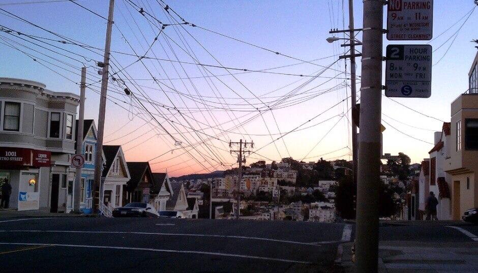 Une rue à Noe Valley à San Francisco.