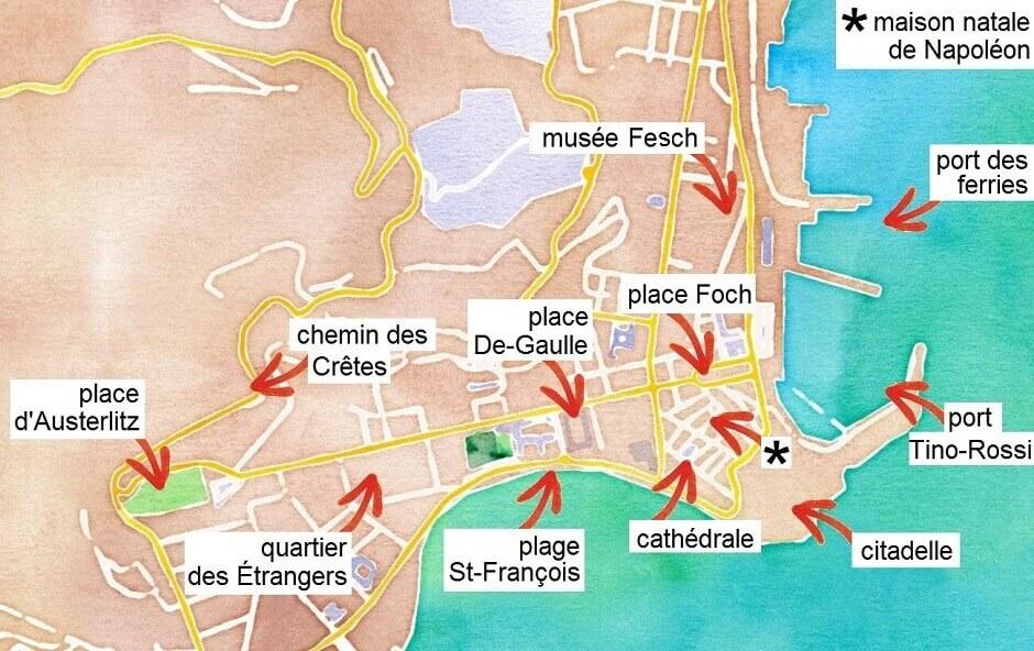 Carte Touristique DAjaccio En Corse