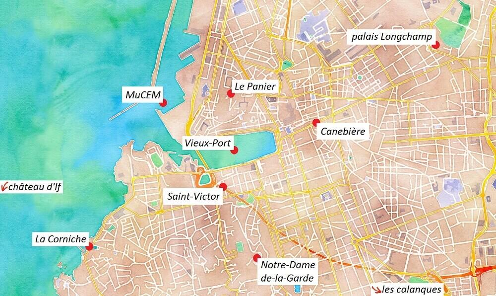 Carte des points touristiques de Marseille.