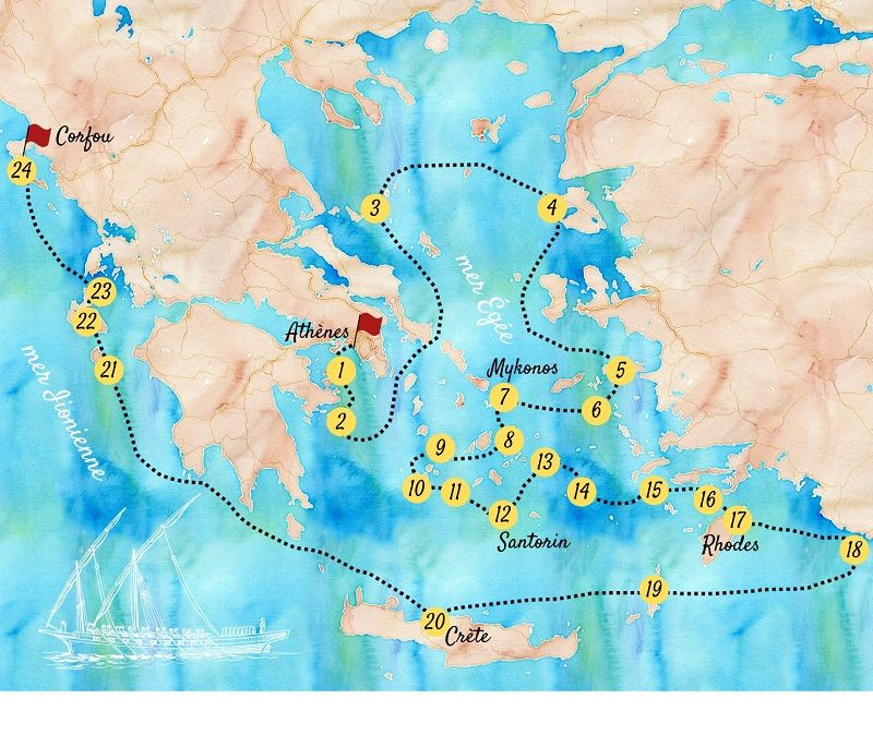 Carte touristique des îles de Grèce.