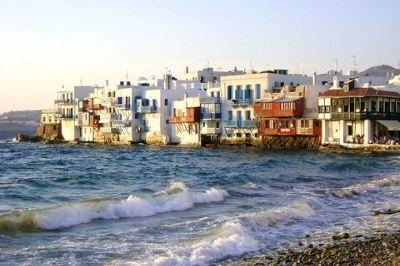 Vue de l'île grecque de Mykonos.