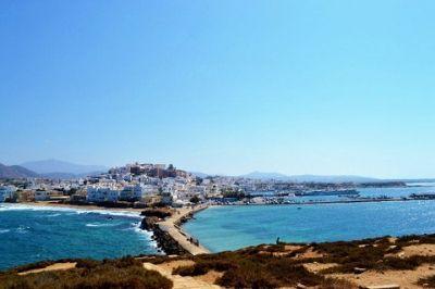 Vue de l'île de Naxos en Grèce.