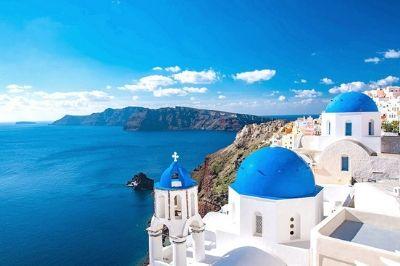 Vue de l'île grecque de Santorin.