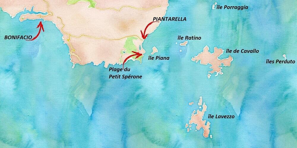 Carte touristique des îles Lavezzi en Corse.
