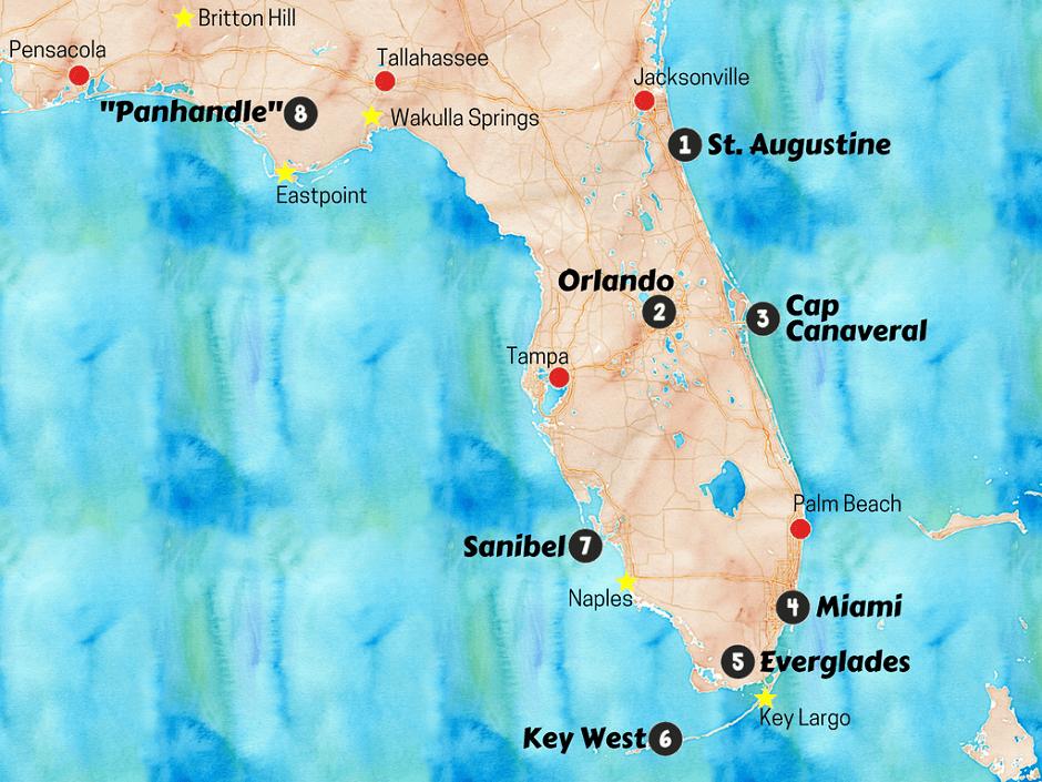 carte des sites touristiques de Floride.