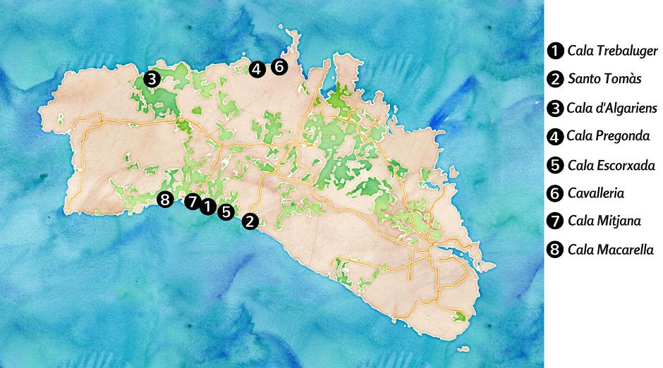 Carte touristique des belles plages de Minorque.