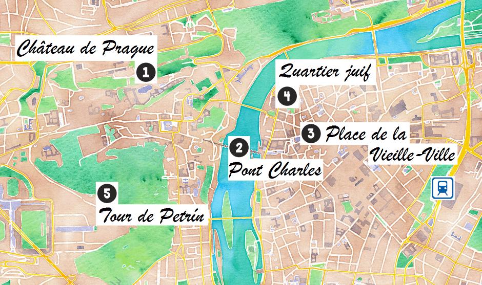 Carte des lieux touristiques de Prague.