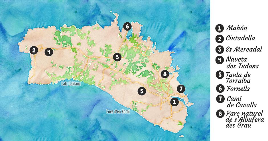 Carte touristique de Minorque.