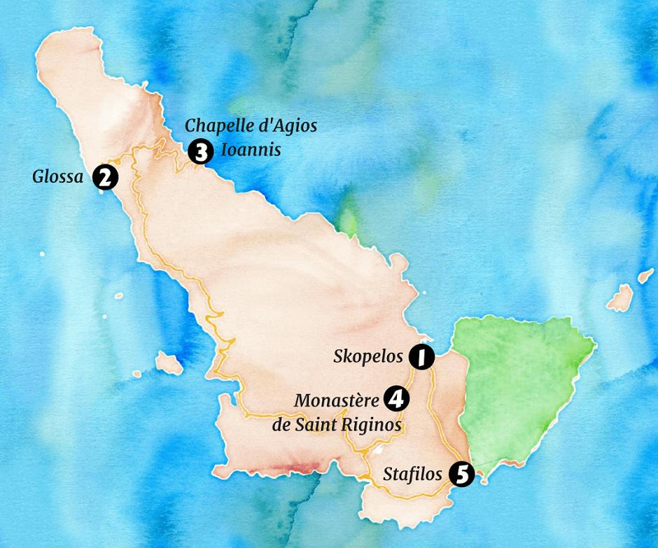 Carte touristique de l'île de Skopelos.