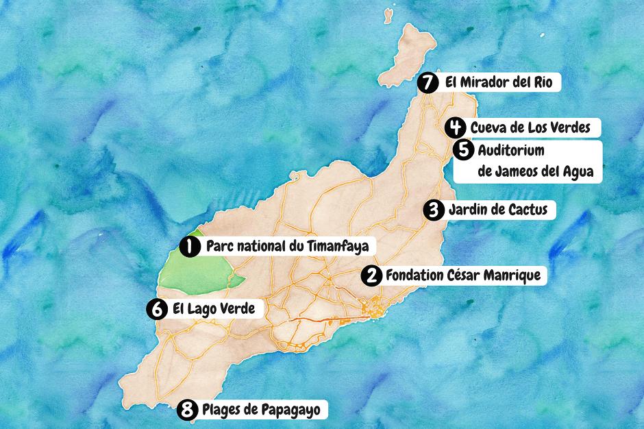 Carte des lieux à visiter à Lanzarote.
