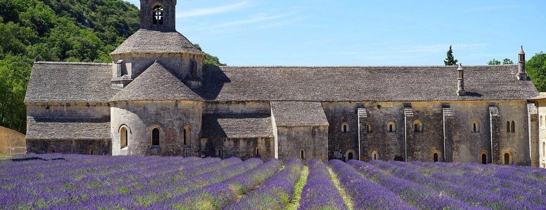Abbaye et lavande en Provence.