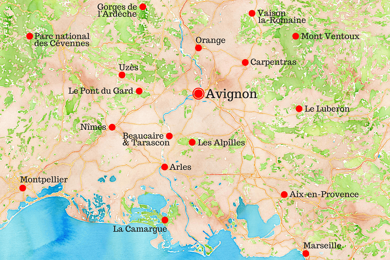 Carte touristique de la région d'Avignon.