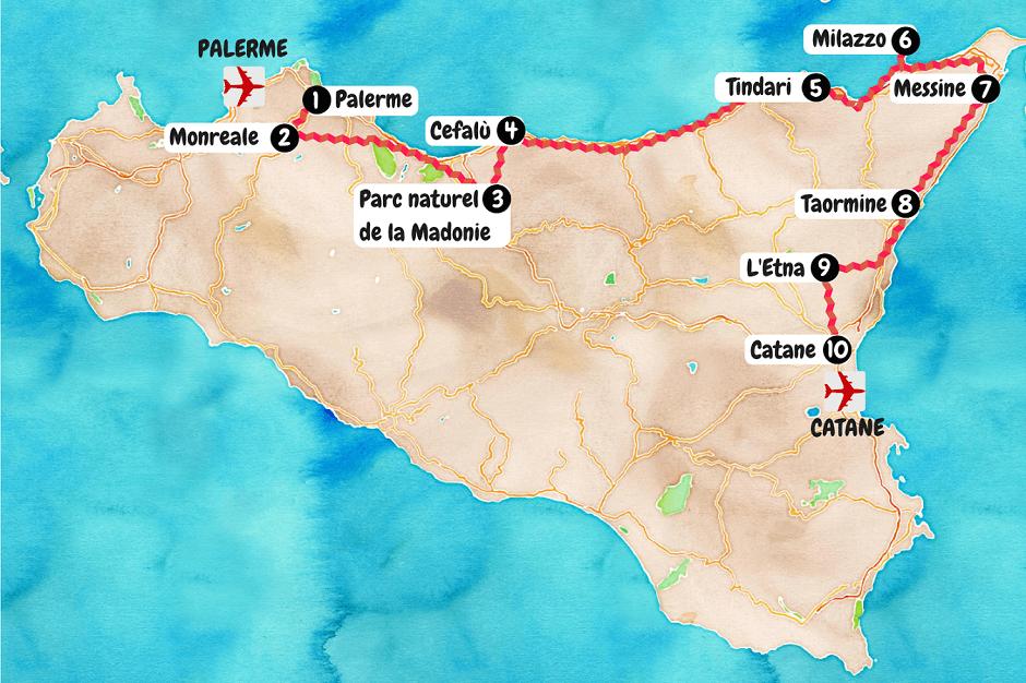 Carte du nord de la Sicile.