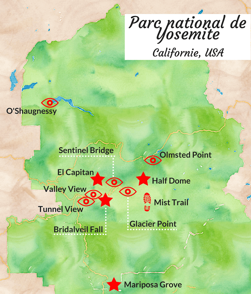Carte touristique du parc national de Yosemite.