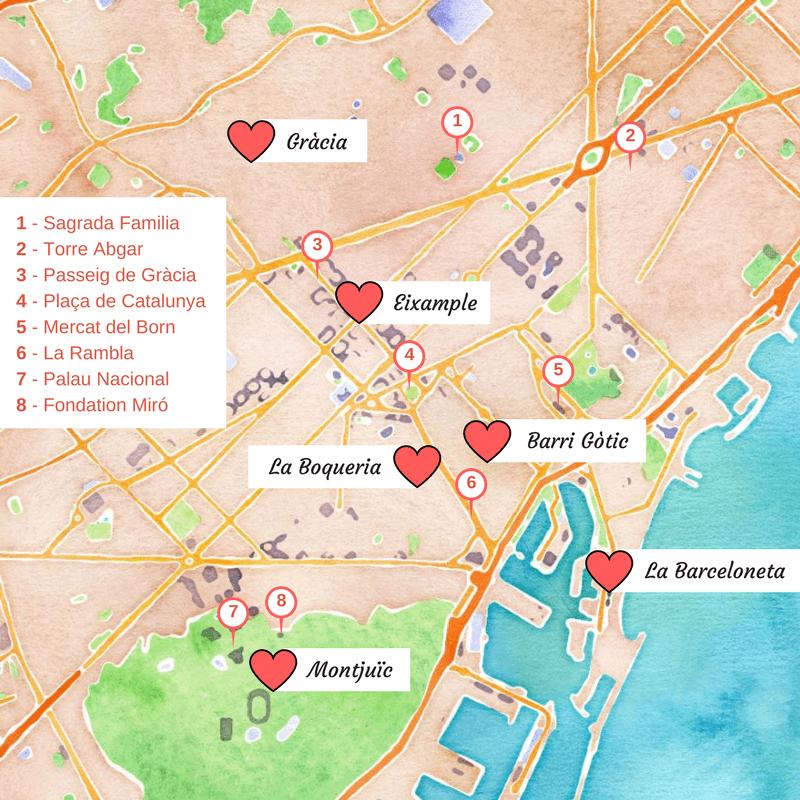 Carte des quartiers touristiques de Barcelone.