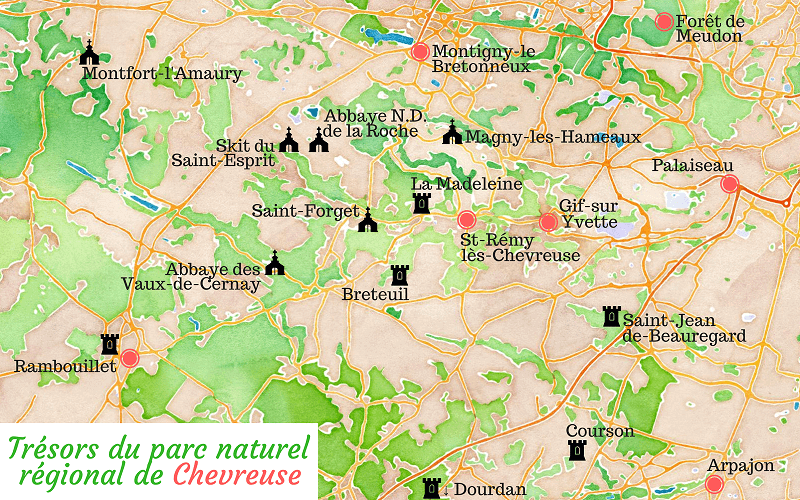 Carte touristique de la vallée de Chevreuse.