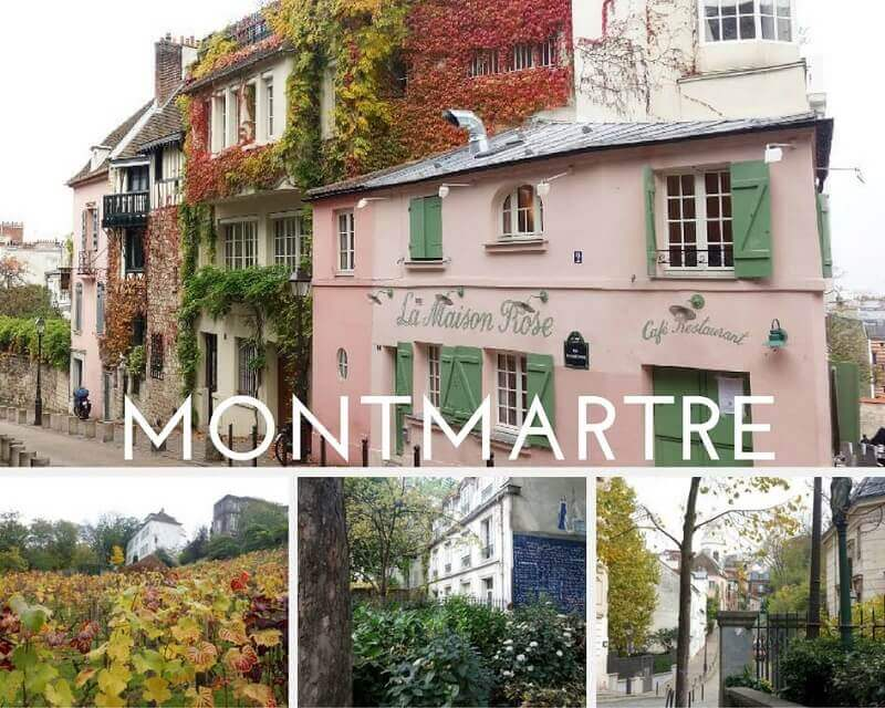 Collage photos de Montmartre à Paris.