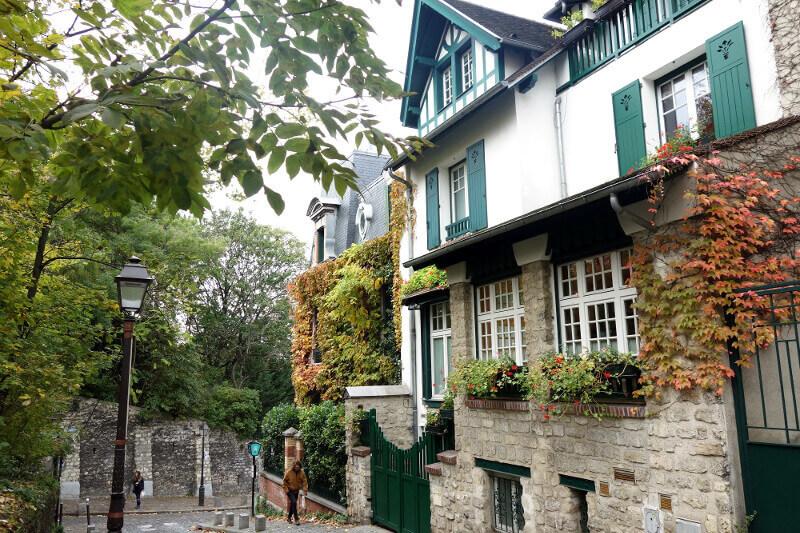 Arbres et maisons de Montmartre, à Paris.