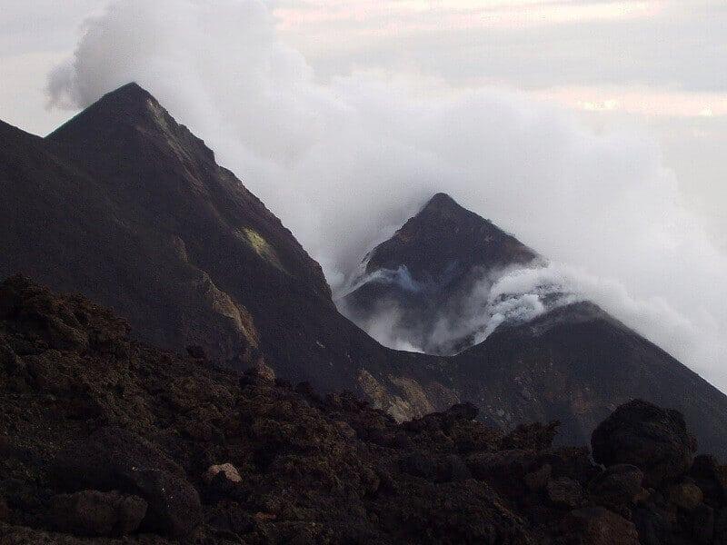Sommet du volcan Strómboli en Sicile.
