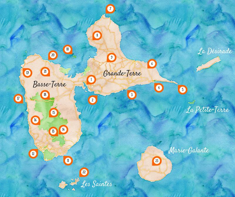 Carte des incontournables de la Guadeloupe.