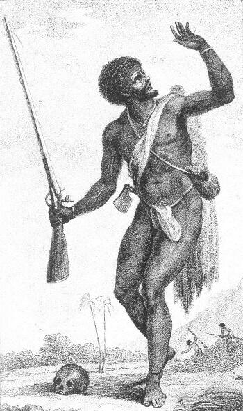 Gravure d'un esclave en fuite.