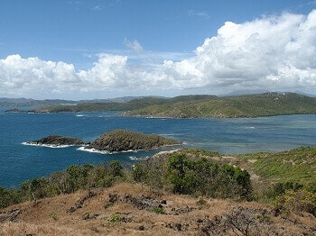 Vue de la presqu'île de la Caravelle en Martinique.