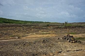 Vue de la Savane des Pétrifications en Martinique.