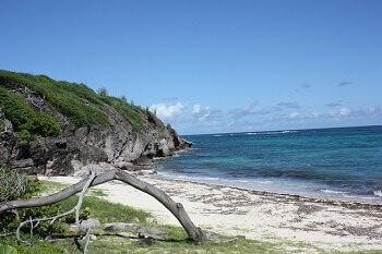 Plage déserte en Martinique.