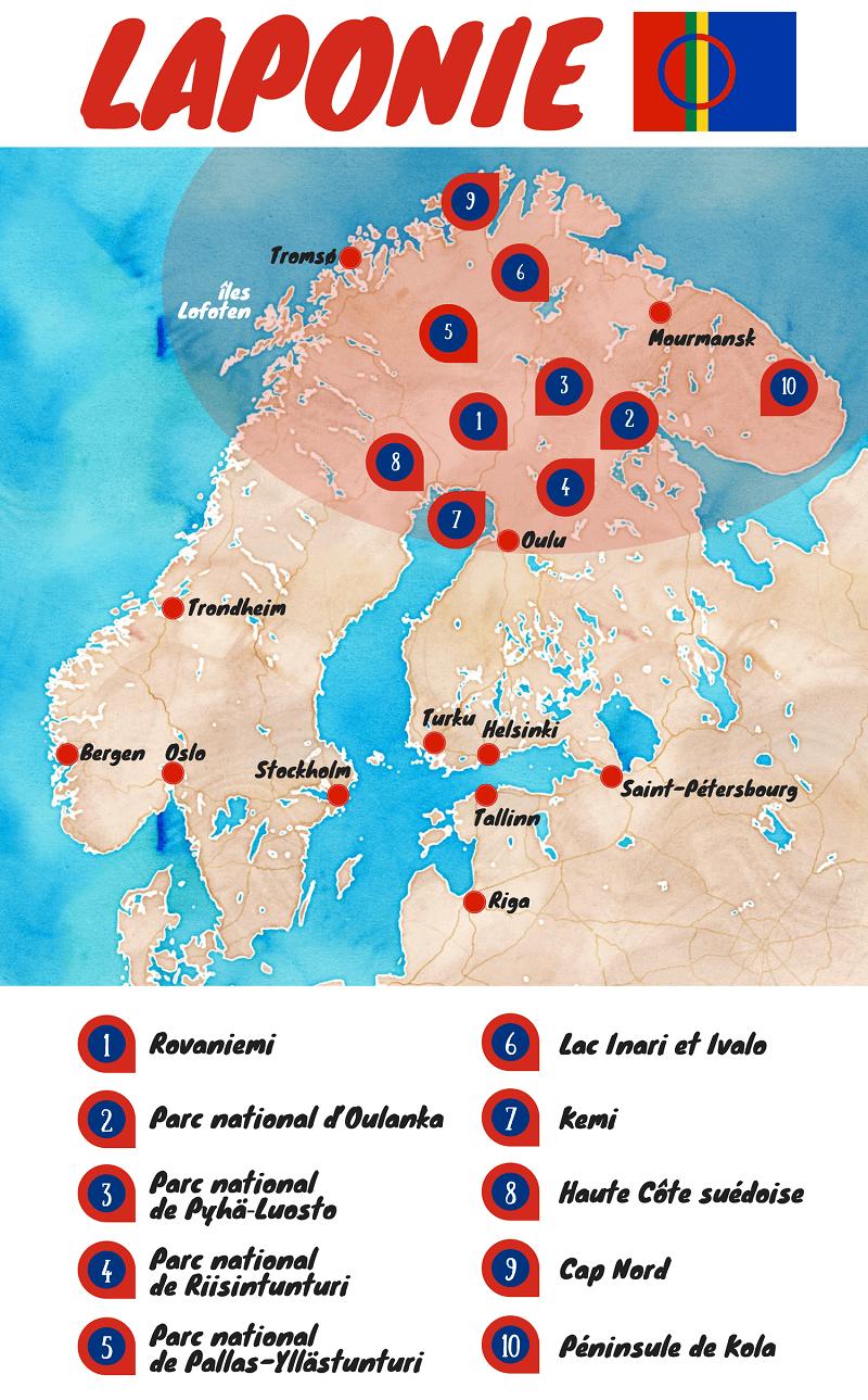 Carte touristique de la Laponie.