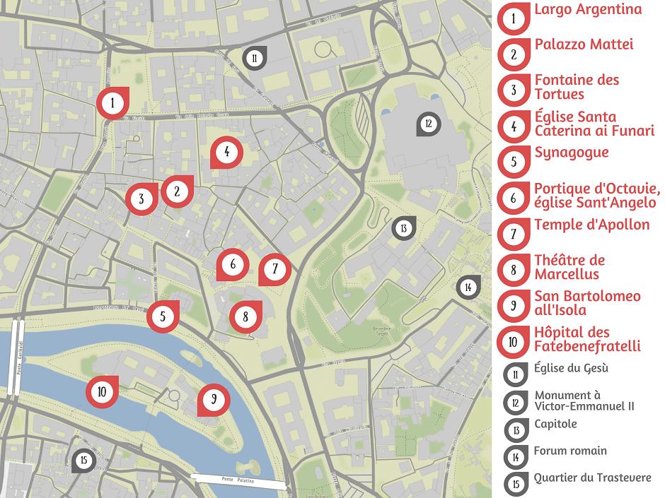 Carte touristique du Ghetto à Rome.