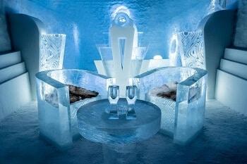 Hôtel de glace en Suède.