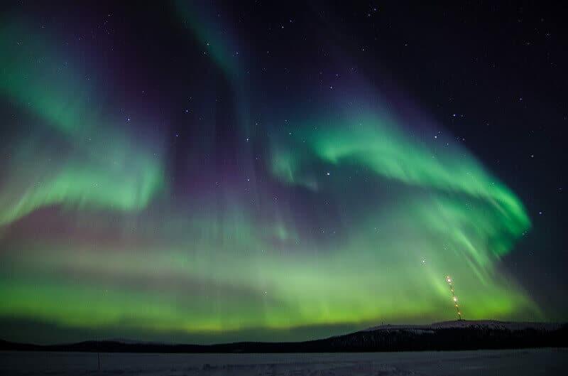 Aurore boréale en Laponie.