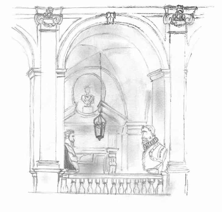 Dessin d'un palais à Rome.