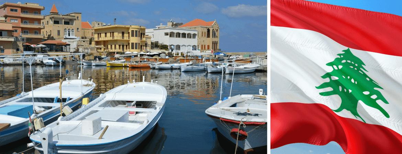 Port et drapeau du Liban.