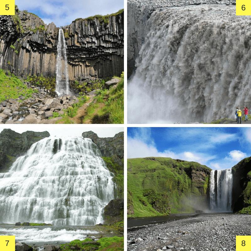 Chutes d'eau en Islande.