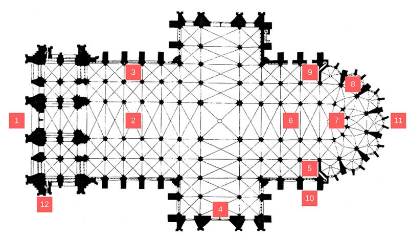 Plan de la cathédrale de Cologne.