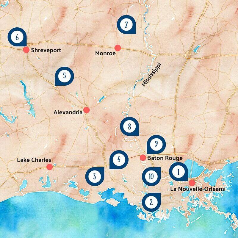 Carte touristique de la Louisiane.
