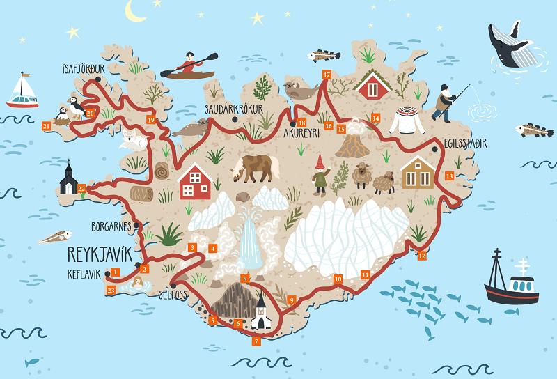 Carte touristique de l'Islande