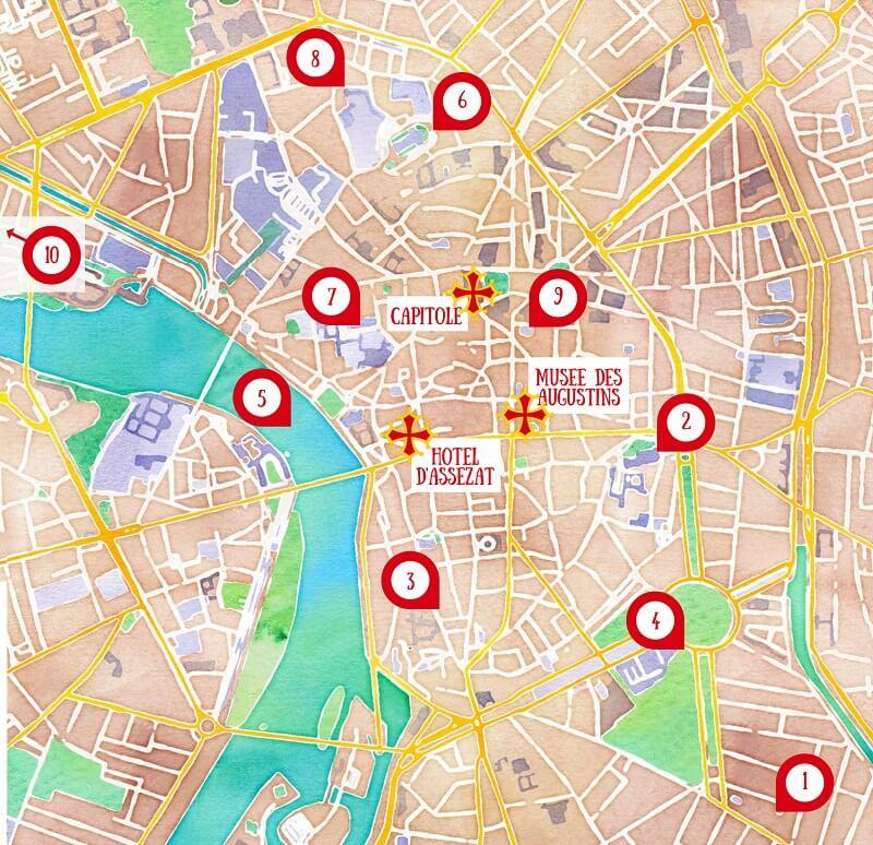 Carte des choses à faire et à voir à Toulouse.