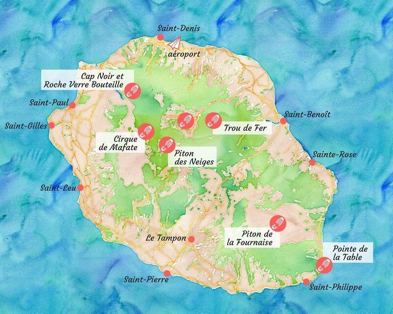 Carte des plus belles randonnées de La Réunion.