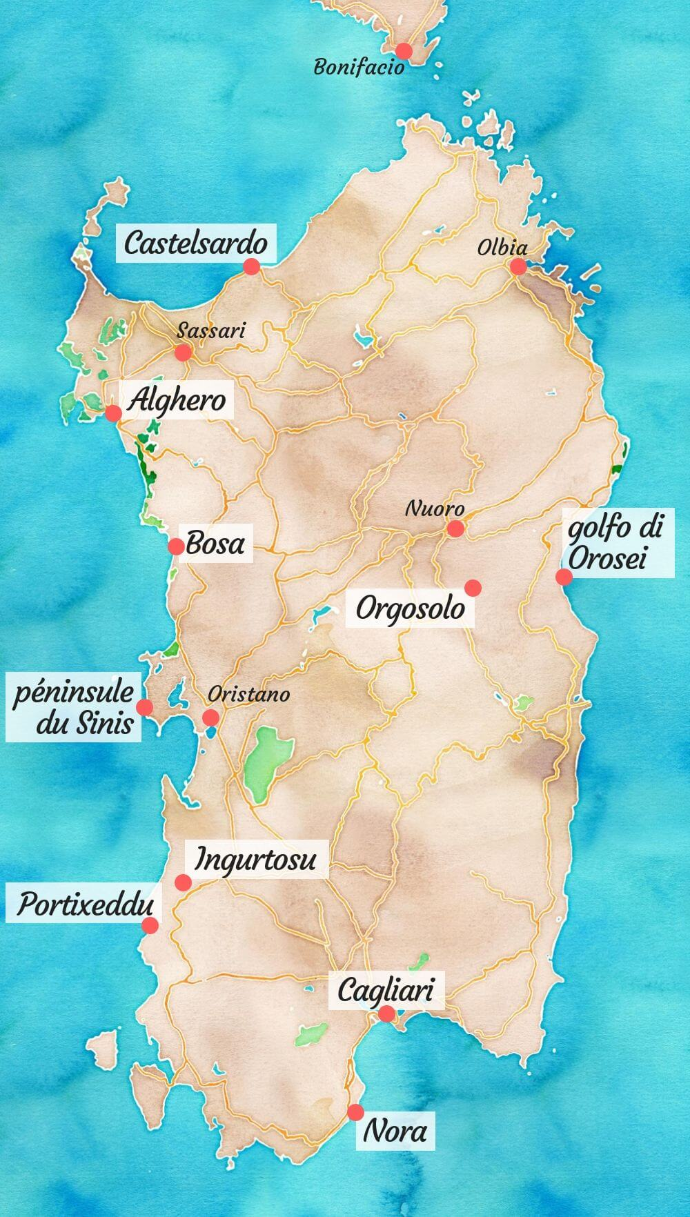 Carte touristique de la Sardaigne.