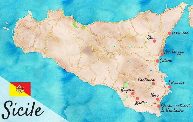 Carte de road trip en Sicile.