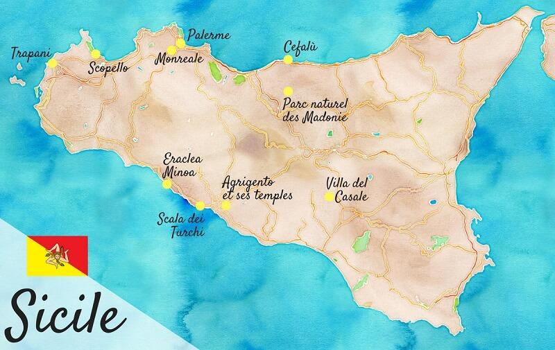Itinéraire de road trip en Sicile.