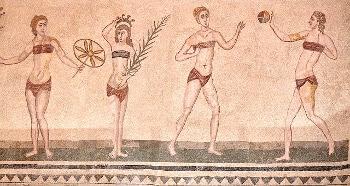 Mosaïque romaine en Sicile.